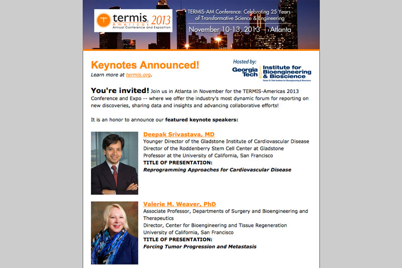 TERMIS Conference Announcement E-mail Newsletter