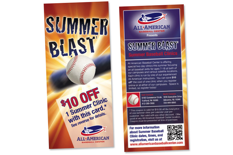All American Baseball Center Rack Card